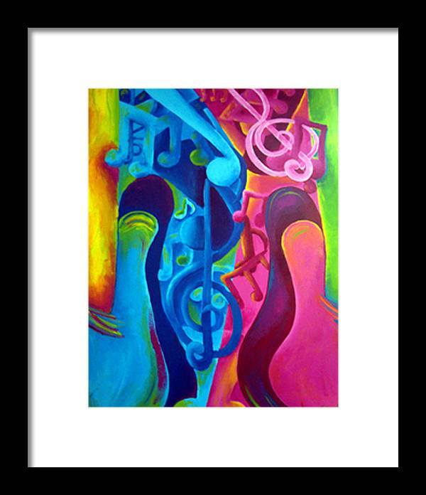 Vivid Contemporary Abstract Framed Print featuring the painting Guitars by Shasta Miller