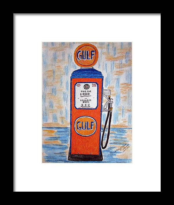 Vintage Framed Print featuring the painting Gulf Gas Pump by Kathy Marrs Chandler