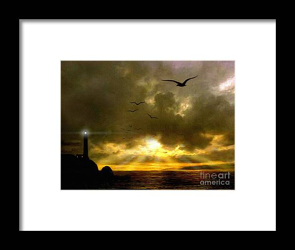 Seascape Framed Print featuring the painting Gull Flight by Robert Foster