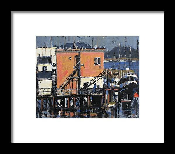 Paintings Framed Print featuring the painting Gulls Aloft by Brian Simons