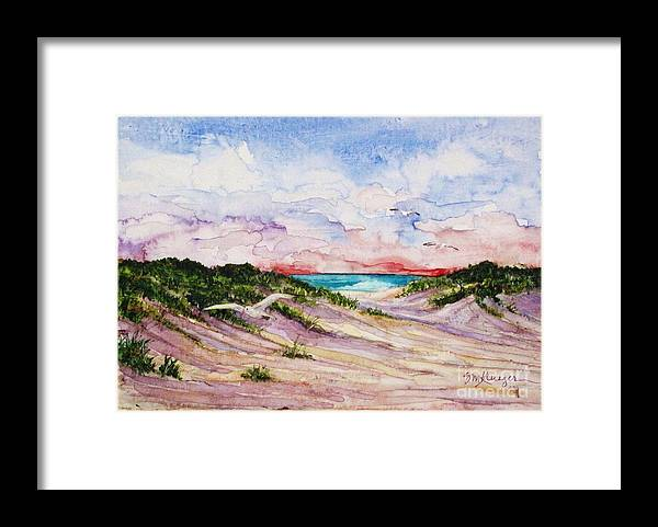 Sea Gulls Framed Print featuring the painting Gulls And Dunes by Suzanne Krueger