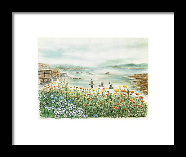 Gulls Framed Print featuring the painting Gulls Over Flowers At The Bay by Samuel Showman