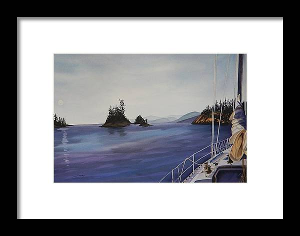 Sailing Framed Print featuring the painting Gunkholing by Johanna Wray