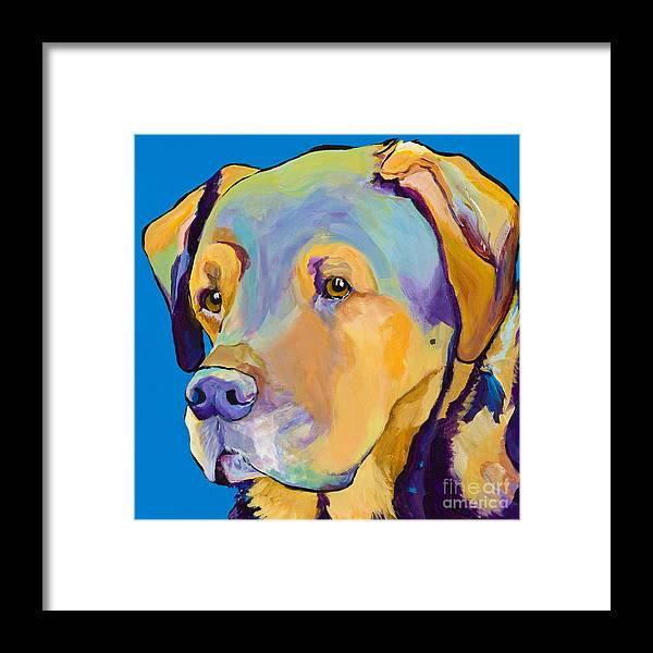 Dog Portrait Framed Print featuring the painting Gunner by Pat Saunders-White