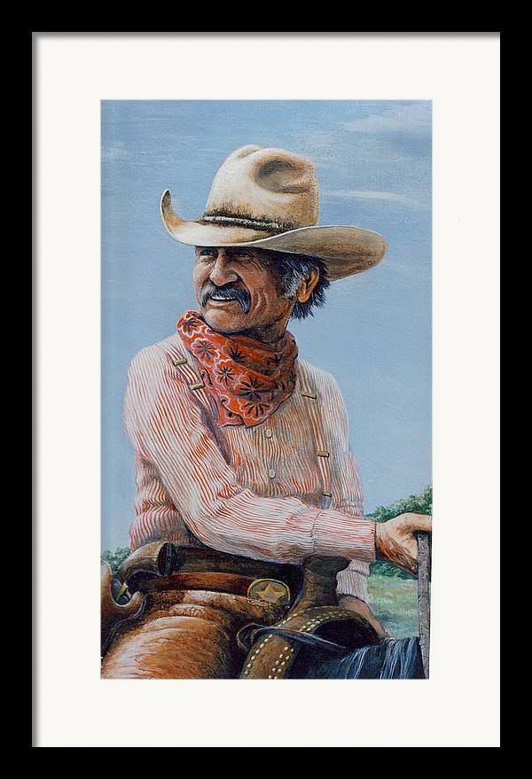 Cowboy Framed Print featuring the print Gus by Lee Bowerman