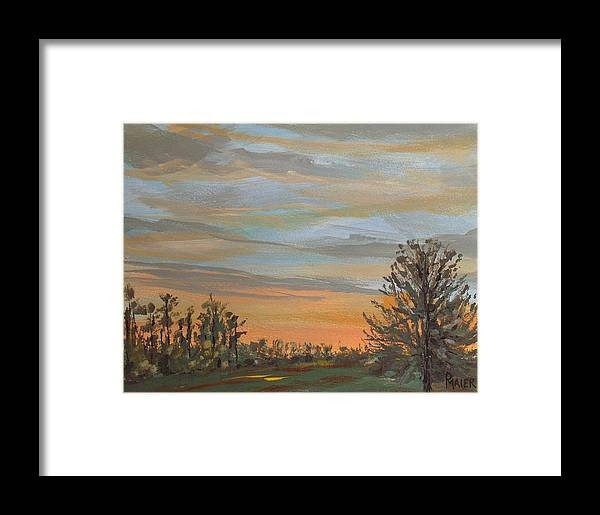 Sunset Framed Print featuring the painting Gwinnetian Sunset by Pete Maier