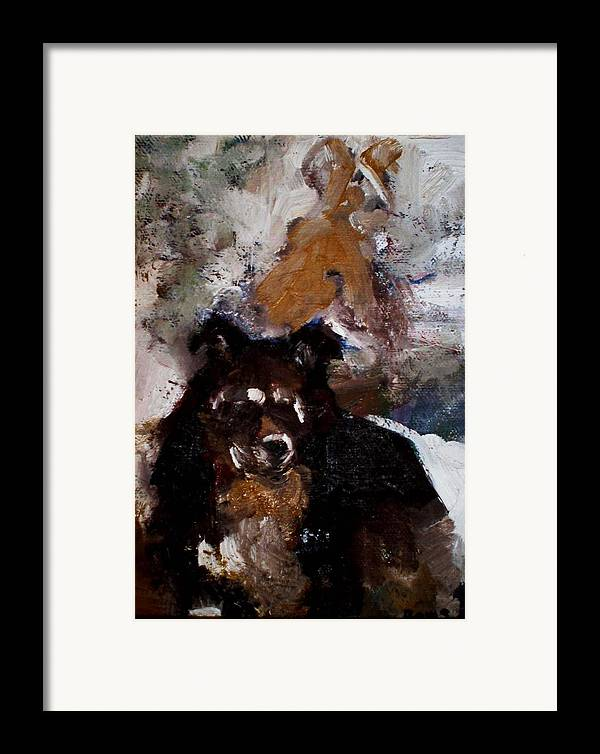 Dog Figurative Impressionistic Framed Print featuring the painting Gypsy Dog by Renee Rowe