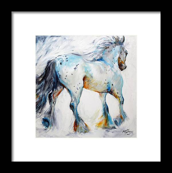 Oil Framed Print featuring the painting Gypsy Vanner Motion Paint Sketch by Marcia Baldwin