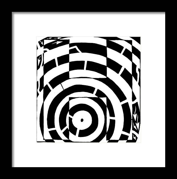 Letter H Framed Print featuring the drawing H Maze by Yonatan Frimer Maze Artist