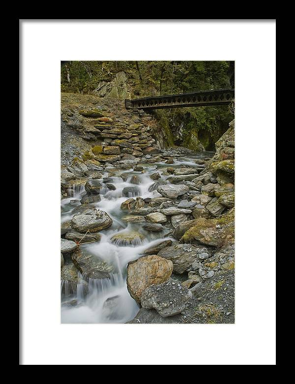 Haast Framed Print featuring the photograph Haast Waterfall by Andrea Cadwallader