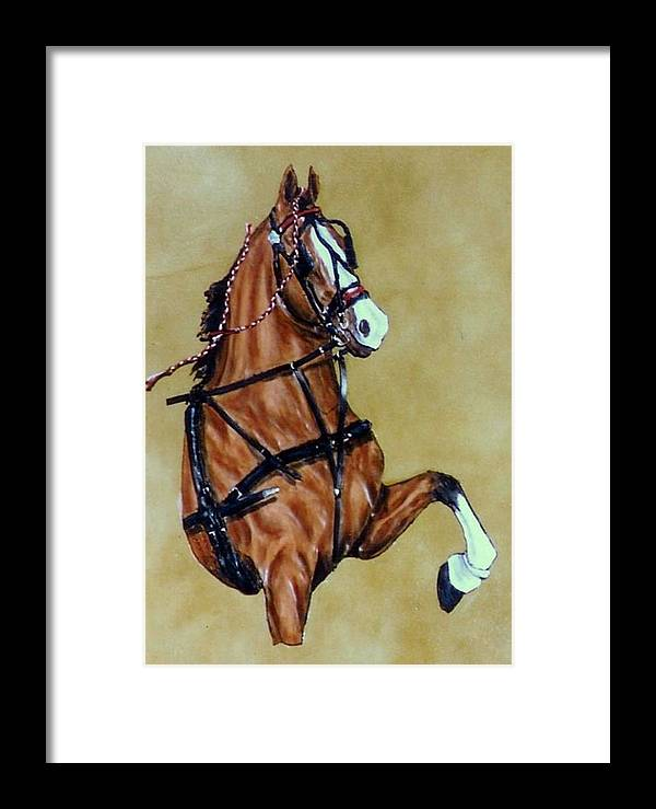Horses Framed Print featuring the painting Hackney by Lilly King
