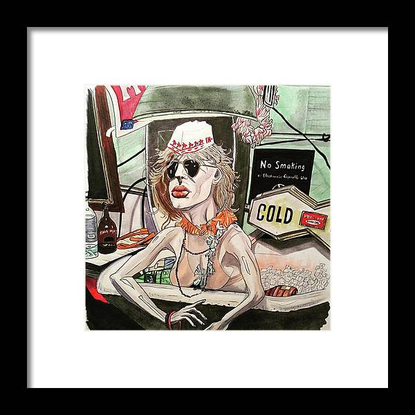 Sillustration Framed Print featuring the drawing Bathtub Ginny by Russell Boyle