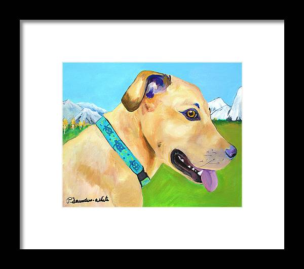 Whippet Framed Print featuring the painting Hadley by Pat Saunders-White