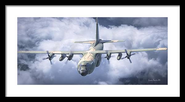 Aviation Art Aerial Aviation C130 Cinema Digital Haf Hercules Antonis Airfoce Roen911 Karidis Art Framed Print featuring the digital art Haf C-130 Hercules by Antonis Karidis