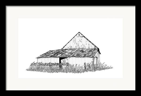 Pen And Ink Framed Print featuring the painting Haines Barn by Virginia McLaren