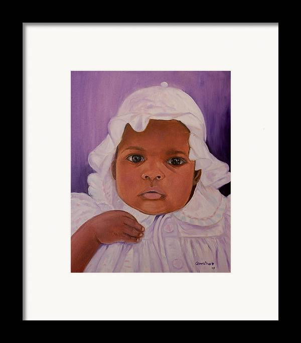 Haiti Framed Print featuring the painting Haitian Baby Orphan by Quwatha Valentine