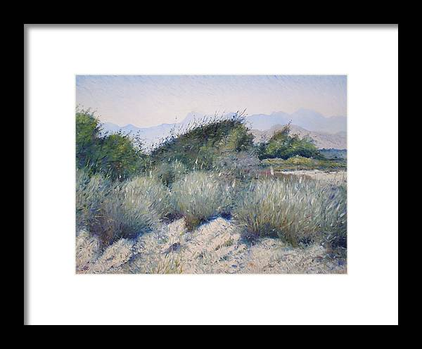 Oman Landscapes Framed Print featuring the painting Hajar Mountains Oman 2002 by Enver Larney