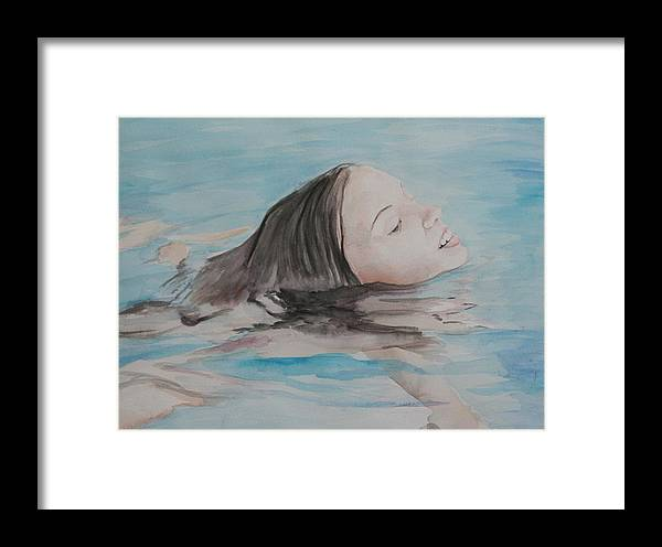 Girl Framed Print featuring the painting Haley In The Pool by Charlotte Yealey