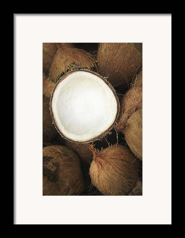 Arrange Framed Print featuring the photograph Half Coconut by Brandon Tabiolo - Printscapes