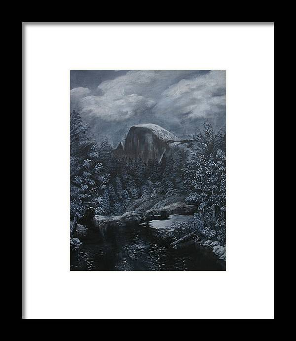 Yosemite Framed Print featuring the painting Half Dome Black And White by Travis Day