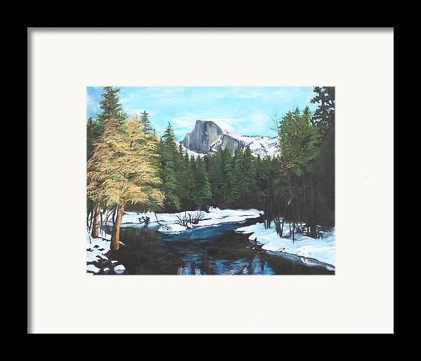 Lkandscape Framed Print featuring the painting Half Dome Snow by Travis Day