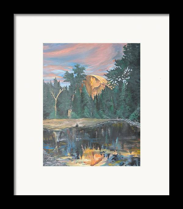 Sunset Framed Print featuring the painting Half Dome Sunset by Travis Day