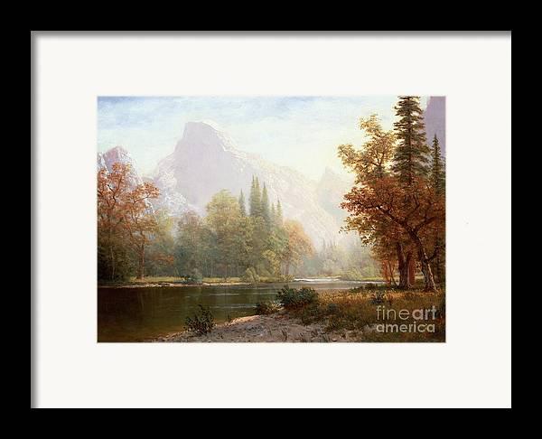 Albert Bierstadt Framed Print featuring the painting Half Dome Yosemite by Albert Bierstadt
