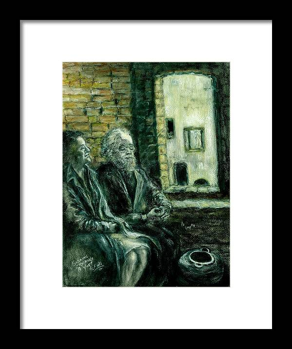 Portrait Of Elderly Couple Framed Print featuring the painting Half Full Or Half Empty by Suzanne Reynolds