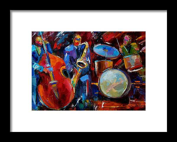 Music Framed Print featuring the painting Half the Band by Debra Hurd
