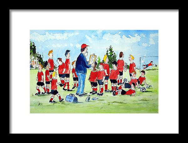 Framed Print featuring the mixed media Half Time Pep Talk by Wilfred McOstrich