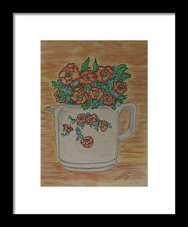 Hall China Framed Print featuring the painting Hall China Orange Poppy And Poppies by Kathy Marrs Chandler