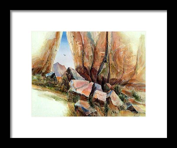 Southwest Landscape Mixed Media Framed Print featuring the painting Hall Of Giants by Don Trout