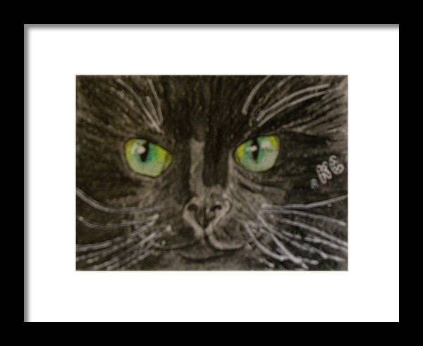 Halloween Framed Print featuring the painting Halloween Black Cat I by Kathy Marrs Chandler