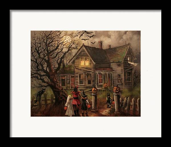 Bats Framed Print featuring the painting Halloween Dare by Tom Shropshire