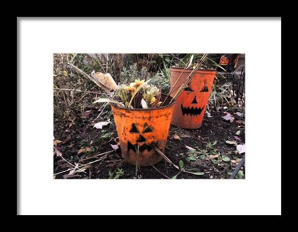 Jackolanterns Framed Print featuring the photograph Halloween Faces by Sylvia Pimental