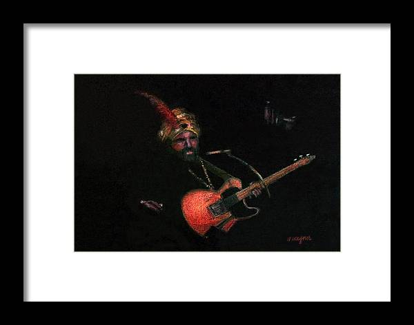 Guitar Framed Print featuring the pastel Halloween Gig by Arline Wagner