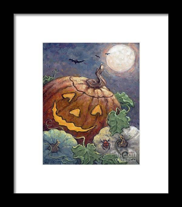 Americana Framed Print featuring the painting Halloween II by Janet Kruskamp