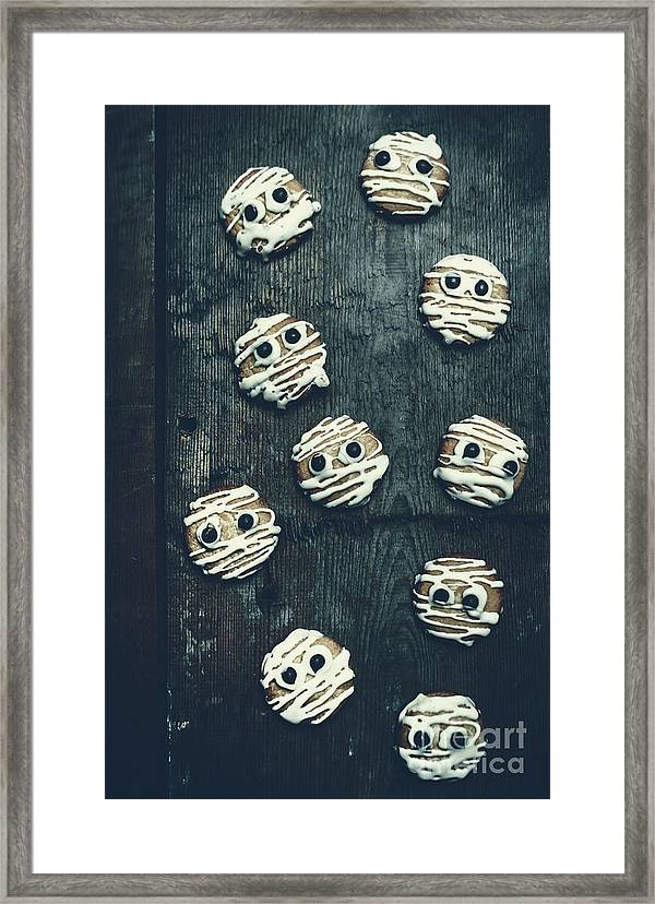 Horror Framed Print Featuring The Photograph Halloween Mummy Cookies By Jorgo Photography Wall Art Gallery