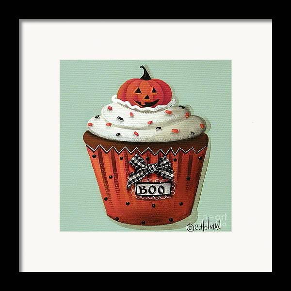 Art Framed Print featuring the painting Halloween Pumpkin Cupcake by Catherine Holman
