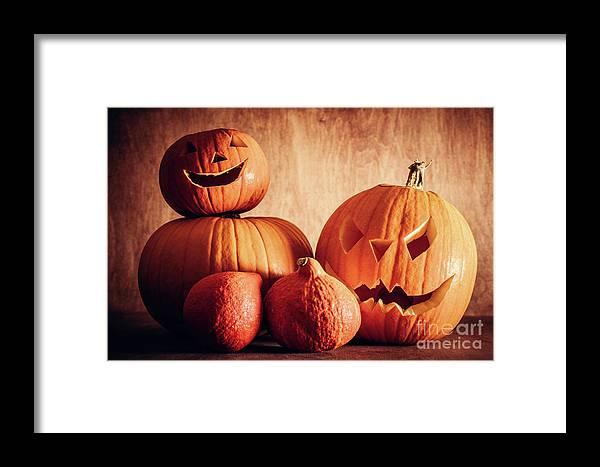 Halloween Framed Print featuring the photograph Halloween Pumpkins, Carved Jack-o-lantern. by Michal Bednarek