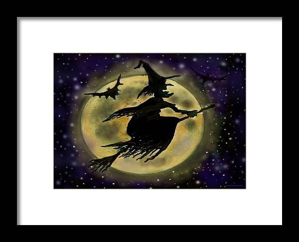 Halloween Framed Print featuring the digital art Halloween Witch by Kevin Middleton