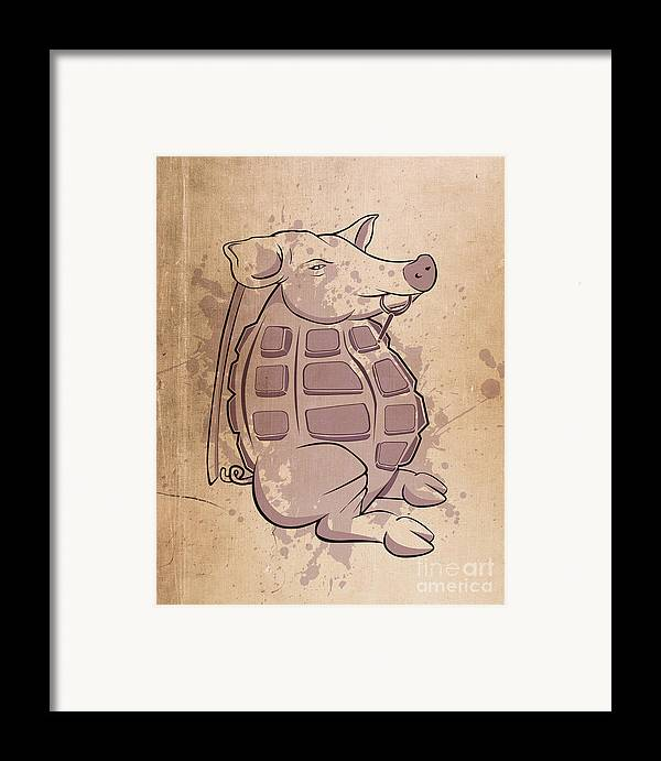 Pig Framed Print featuring the digital art Ham-grenade by Joe Dragt