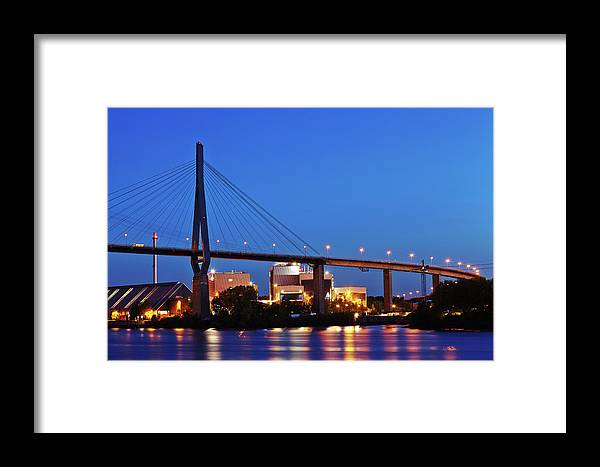 Hamburg Framed Print featuring the photograph Hamburg - Koehlbrand Bridge In The Evening by Olaf Schulz