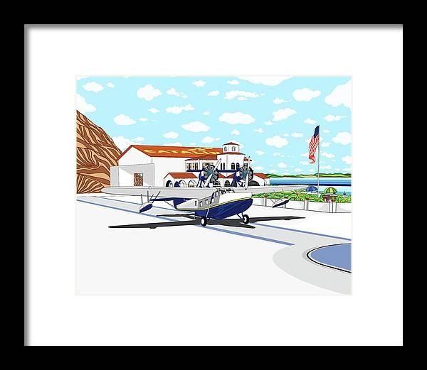 Seaplane Framed Print featuring the digital art Hamilton Cove by Carlos Martinez
