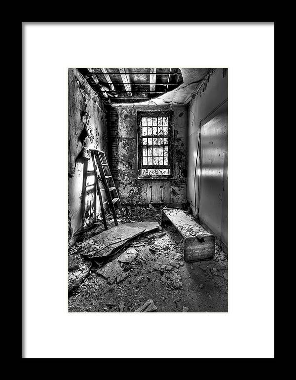 Ladder Framed Print featuring the photograph Hammer To Fall by Evelina Kremsdorf
