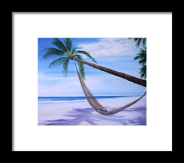 Beach Framed Print featuring the painting Hammock by Maria Mills