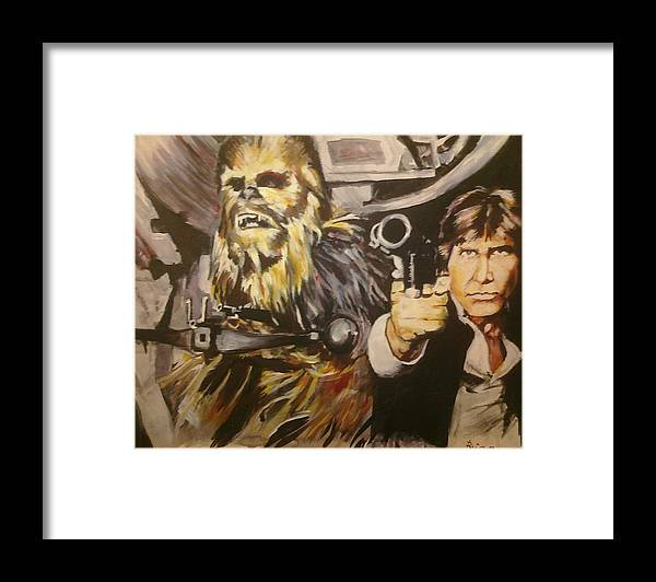 Star Wars Framed Print featuring the painting Han And Chewie by Brian Child