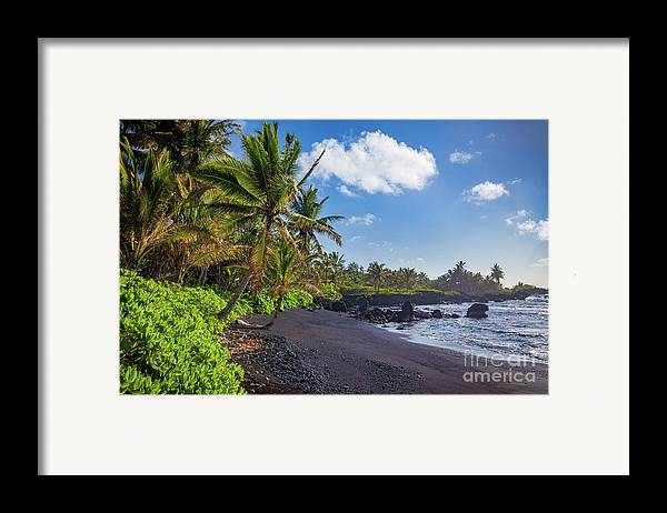 America Framed Print featuring the photograph Hana Bay Palms by Inge Johnsson