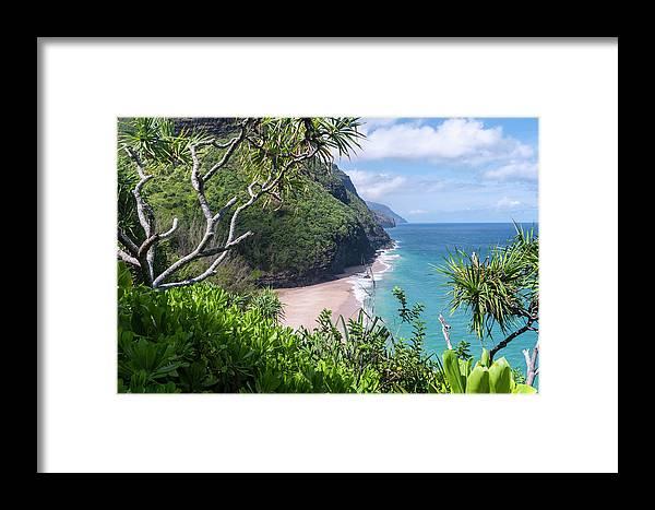 Na Pali Coast Framed Print featuring the photograph Hanakapiai Beach by Brian Harig