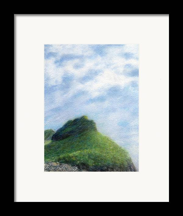 Rainbow Colors Pastel Framed Print featuring the painting Hanakapia Beach View by Kenneth Grzesik